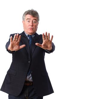 Surprised man stop gesture